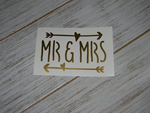 Mr and Mrs Heart Arrow Retro Vinyl Decal Sticker for Car Window, Laptops, Water Bottles, Yeti Cups -Pick Color-Wedding, Shower - Retro Arrow