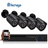 Analog Wired Home Surveillance System! Techage 4 Channel AHD 720P Home Security CCTV Camera System Outdoor Compact Waterproof IP Camera Night Version Motion Detection Surveillance Kit Black Review