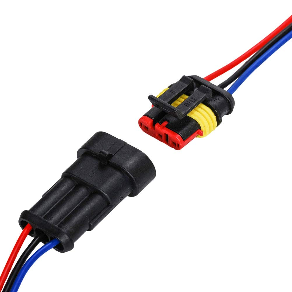 5 Set HIFROM Replace 3 Pin Car Male /& Female Electrical Waterproof Connectors Plug Socket Kit With 10cm Wire AWG Gauge Marine