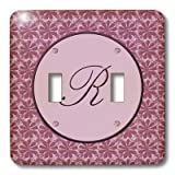 3dRose LLC lsp_36054_2 Elegant Letter R In A Round Frame Surrounded By A Floral Pattern All In Rose Pink Monotones, Double Toggle Switch