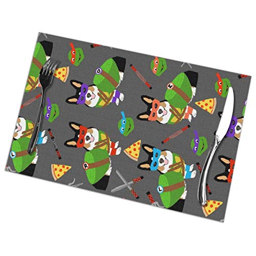 shirt home Tri Corgi Ninja Turtle - Dog Dogs Cartoon Costume Placemats for Dining Table Heat Resistant Kitchen Table Decor Washable Table Mats Set of 6 (12x18 in) -