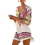 Womens Cover up Bohemia Tassel Swimsuit Beachwear Bikini Dress (A) White, One Size