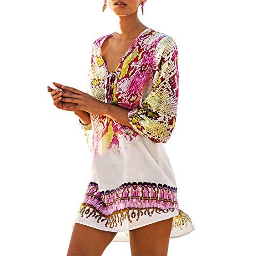 92918fd1e24 Fortully Women Swimsuit Cover up Kimono Tassel Bathing Sarong Beach Wear  Bikini Dress