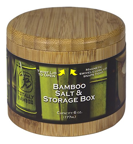 Totally Bamboo Salt Box, Natural Bamboo Container With Magnetic Lid + Secure Durable Storage & Organization - Seasonings, Spices,  Herbs or Small Items - Jewelry / Office, ect..