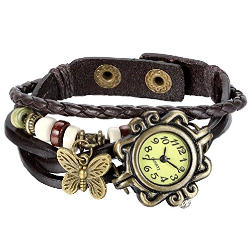 JewelryWe New Women Wristwatch Butterfly Quartz Vintage Weave Wrap Leather Strap Girl Lady Bracelet (Ladies Bracelet Quartz Watch)