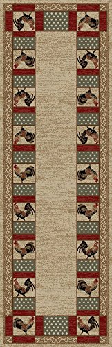 Rug Empire Rustic Lodge Rooster Area Rug, Beige, 2'3