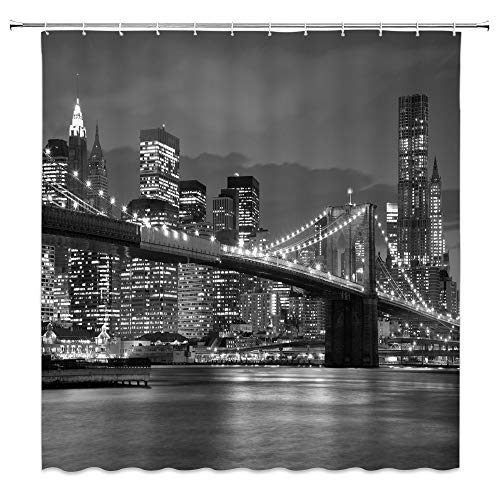 Brooklyn Bridge Shower Curtain Decor Over East River Monochrome Highrise Building Skyscraper Night Scenery Bathroom Curtain Polyester Fabric Machine Washable with Hooks 70 x 70 Inches (Multi 3150L) (Brooklyn Light Set)