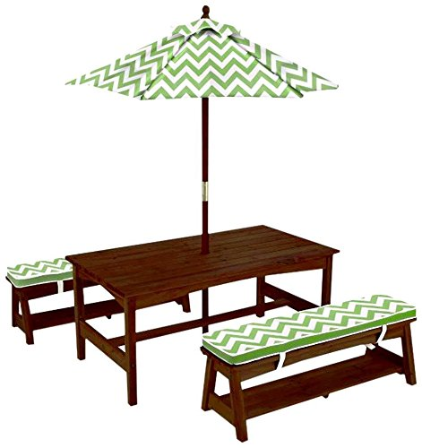 - KidKraft Table and Bench Set with Umbrella