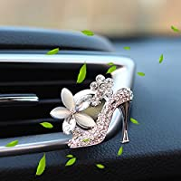 Car Air Freshener Aromatherapy Essential Oil Diffuser Diamond Locket with Car Perfume Car Fragrance Diffuser Vent Clip Bling , AMind (Lemon, Silver High Heel)