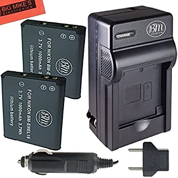 BM Premium 2-PACK of EN-EL19, ENEL19 Battery and Charger Kit for Nikon Coolpix S32, S33, S100, S3100, S3200, S3300, S3500, S3600, S3700, S4100, S4200, S4300, S5200, S5300, S6400, S6500, S6800, S6900, S7000 Digital Camera