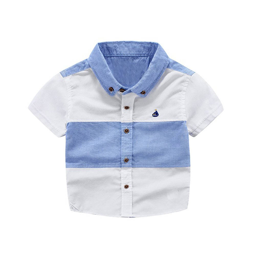 Motteecity Trendy Boys Cartoon Ship Embroidered Patchwork Short Sleeves Soft Polo Shirt