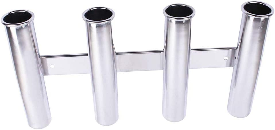 Details about  /4 Tube Stainless Steel Fishing Rod Holder Rod Rack Bracket Side Mount Wall Mount