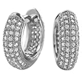 Rhodium 3D Rounded Hoop Earrings CZ Micro Pave Set