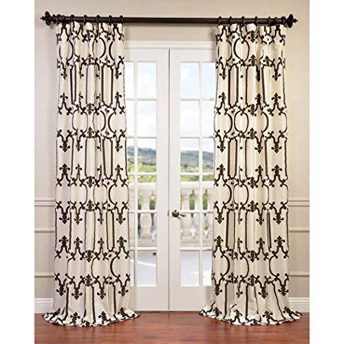 (1 Piece Off White Geometric Damask Embroidered Royal Gate Flocked Faux Silk Taffeta Window Curtain 120 Inches Single Panel, Light Cream Fabrics Window Treatment Lined Rod Pocket, Silk Polyester)