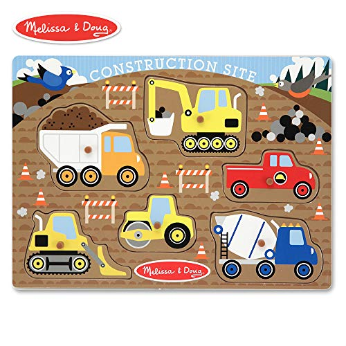 Doug Construction Vehicles - Melissa & Doug Construction Site Vehicles Wooden Peg Puzzle (6 pcs)