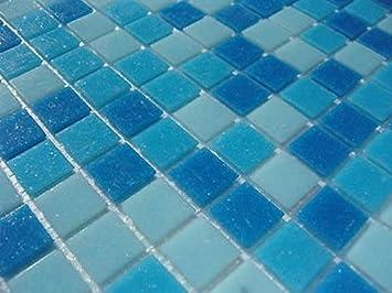Fliesentopshop Glas Mosaik Fliesen Pool Dusche Bad Azur Blau