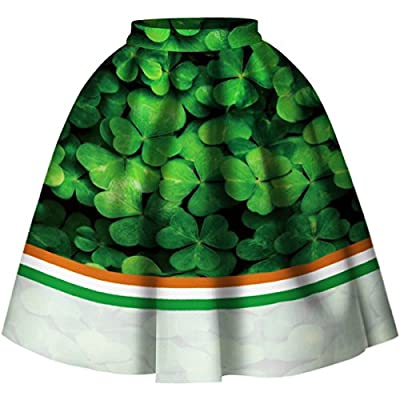 Women 3D Printed Green Shamrock Skirts High Waist Flared Pleated Skirt