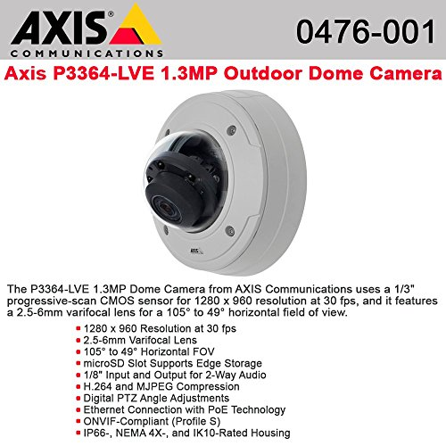 AXIS P3364-LVE Network Camera - Color, Monochrome - 1280 x 960 - 3.6x Optical - CMOS - Cable - Fast Ethernet - 0476-001 by Generic