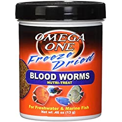Omega One Freeze Dried Blood Worms, .46 oz.