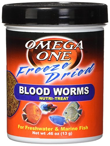 Food Bloodworms Fish (OMEGA One Freeze Dried Bloodworm .46oz)