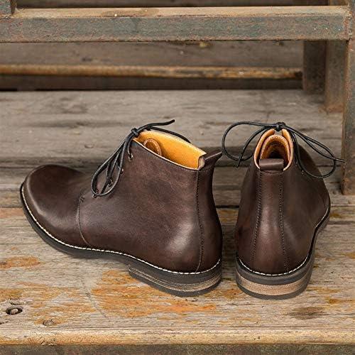 FIESSO High Top di Avvio for Gli Uomini Stivali da Lavoro Premium Genuine Leather Affari Lace Up Retro Rotonda Stile Punta Tacco Easy Care (Color : Coffee, Dimensione : 39 EU)
