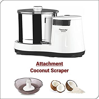 Butterfly Smart Wet Grinder, 2L (White) with Coconut Scrapper Attachment, 150 W 14