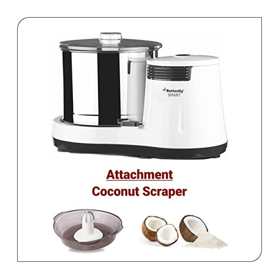 Butterfly Smart Wet Grinder, 2L (White) with Coconut Scrapper Attachment, 150 W 7