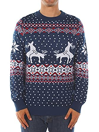 Amazon.com: Men's Ugly Christmas Sweater - Reindeer Climax Tacky ...