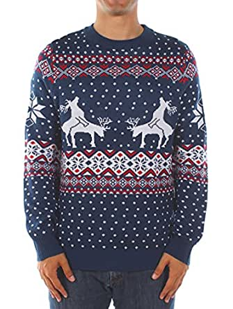 Will Smith Christmas Sweater.Tipsy Elves Men S Ugly Christmas Sweater Reindeer Climax Tacky Christmas Sweater Blue