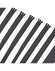 #5 Nylon Coil Zippers for Sewing, Black and White (60 Pieces)