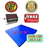 """Certified NTEP 2500lbx0.5lb 36""""x36"""" Legal For Trade Floor Scale with Indicator Manufactory Calibrated, BRAND NEW PALLET SCALE"""