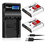 OAproda 2 Pack NP-BG1 Battery and Smart LCD Display USB Charger for Sony Cyber-shot NP-FG1, DSC-W220, DSC-W30, DSC-W35, DSC-W50, DSC-W80, DSC-H55, DSC-H3, DSC-H10, DSC-H20, DSC-H50, DSC-HX7V, DSC-HX9V