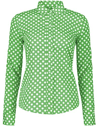 ERZTIAY Women's Tops Feminine Long Sleeve Polka Dotted Button Down Casual Dress Blouses Shirts (Light Green, X-Large)