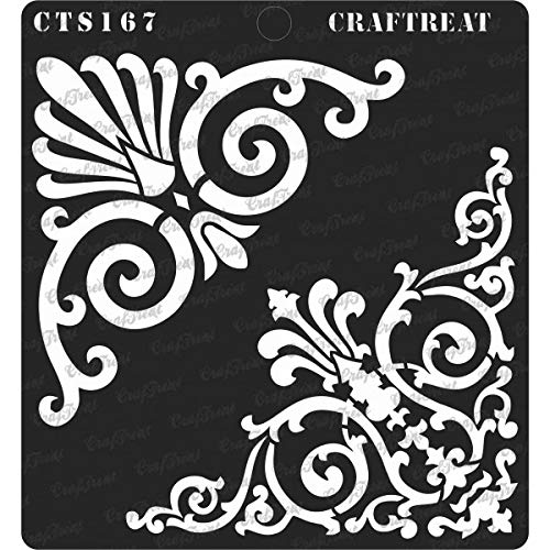CrafTreat Stencil - Ornate Corners - Reusable Painting Template for Journal, Notebook, Home Decor, Crafting, DIY Albums, Scrapbook, Decoration and Printing on Paper, Floor, Wall, Fabric 6x6 inches