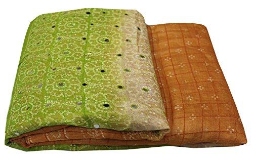 Silk Mirror (Indian Vintage Saree 100% Pure Silk Fabric Bandhani Style Printed Wrap Mirror Sequins Work Orange Green Decorative Party Wear Ethnic Sari Dress 5YD)