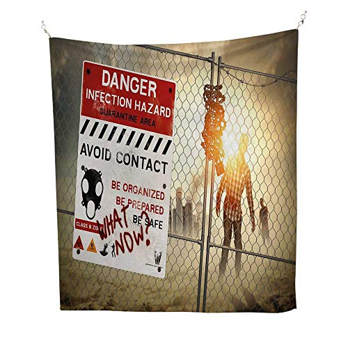 Zombie Decorfunny tapestryDead Man Walking Dark Danger Scary Scene Fiction Halloween Infection Picture 60W x 80L inch Quote tapestryMulticolor]()