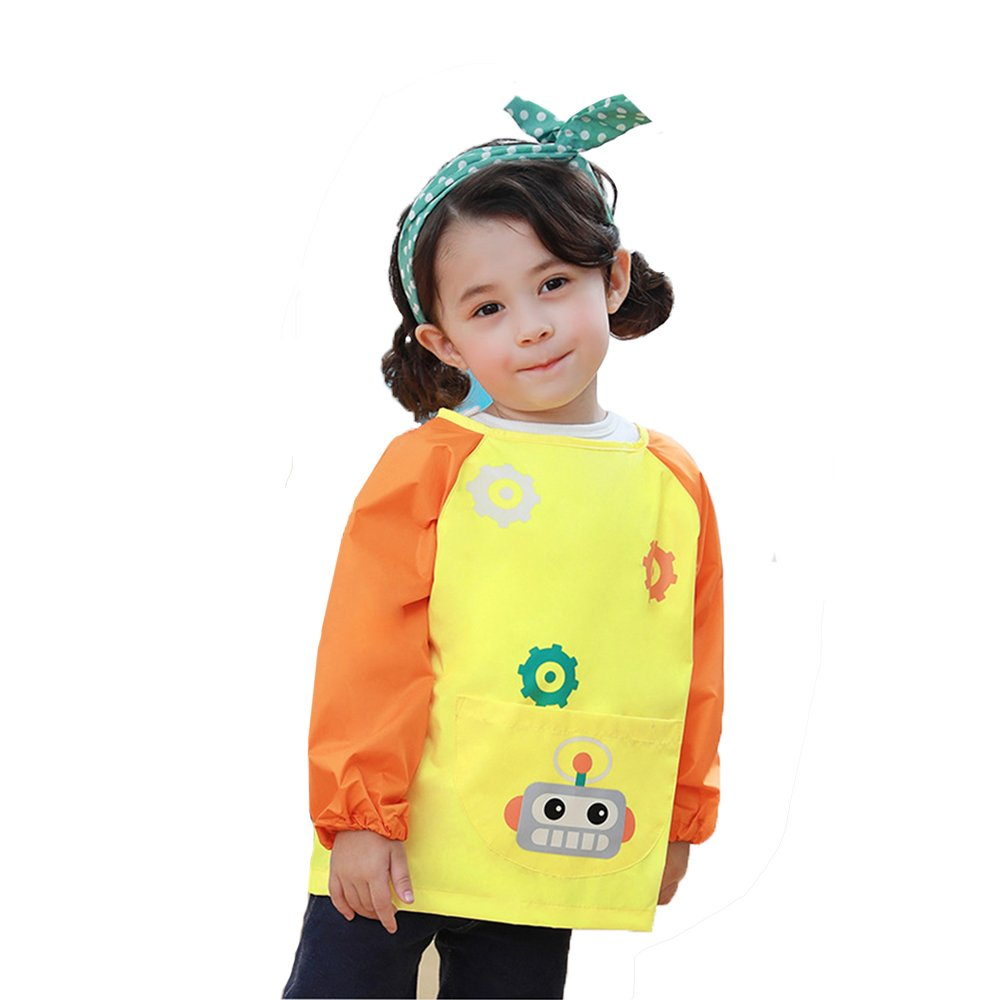 HOSIM Kids Toddler Art Smocks Play Apron Cute Radio Pattern, Waterproof Painting Apron Children's Kitchen Cooking and Baking Smocks Long Sleeve with Large Pocket (S, Yellow) PAR-Y-S
