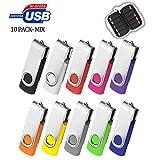 32GB Flash Drive 10 Pack, USB Flash Stick with Easy-Storage Bag ARETOP Pen Drive Gig Stick Memory Stick USB2.0 Pendrive 32GB Thumb Drives for Fold Date Storage (10 PCS - 10 Mix-Colors)