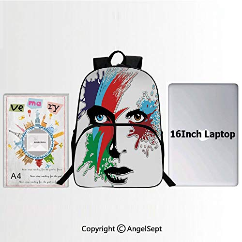 Ziggies Cube - Fashion Design Water Resistant Hiking Daypack,Bowies Eyes Ziggy Stardust Expression Inspired Artwork Colorful Splashes 15.7