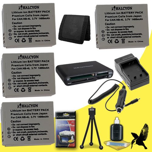 Four Halcyon 1400 mAH Lithium Ion Replacement NB-4L Battery and Charger Kit + Memory Card Wallet + Multi Card USB Reader + Deluxe Starter Kit for Canon PowerShot SD630 Digital Elph Camera and Canon NB-4L by Halcyon