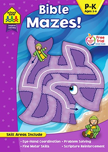 School Zone - Bible Mazes! Workbook - Ages 3 to 6, Preschool to Kindergarten, Christian Scripture, Old & New Testament, Problem-Solving, and More (Inspired Learning Workbook) (Amazing Zone)