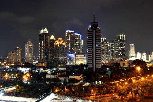 JAKARTA INDONESIA NIGHT SKYLINE GLOSSY POSTER PICTURE PHOTO BANNER java by ConversationPrints