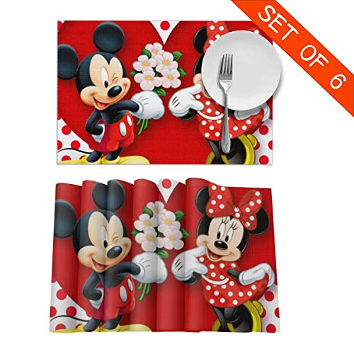 LCXjj Mickey Minnie-Mouse-Love-Couple-Heart Non-Slip Insulation Placemat Washable Table Mats Set of 6 (6pcs Placemats) -12x18 Inch
