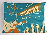 Lunarable Country Pillow Sham, Graphic Grungy Country Music Festival Musician Playing Guitar and Audience Cheering, Decorative Standard King Size Printed Pillowcase, 36 X 20 inches, Multicolor