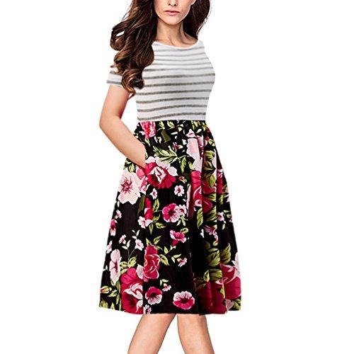Goodstoworld Mujeres Corta Manga A Verano Bolsillos Ropa línea Floral4 De Vestido Midi Casual Floral Rayas A Estampado Con rr1Awqd