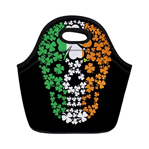 Semtomn Lunch Tote Bag Green Pirate Irish Skull Clover Vintage Halloween Ireland Satan Reusable Neoprene Insulated Thermal Outdoor Picnic Lunchbox for Men Women -
