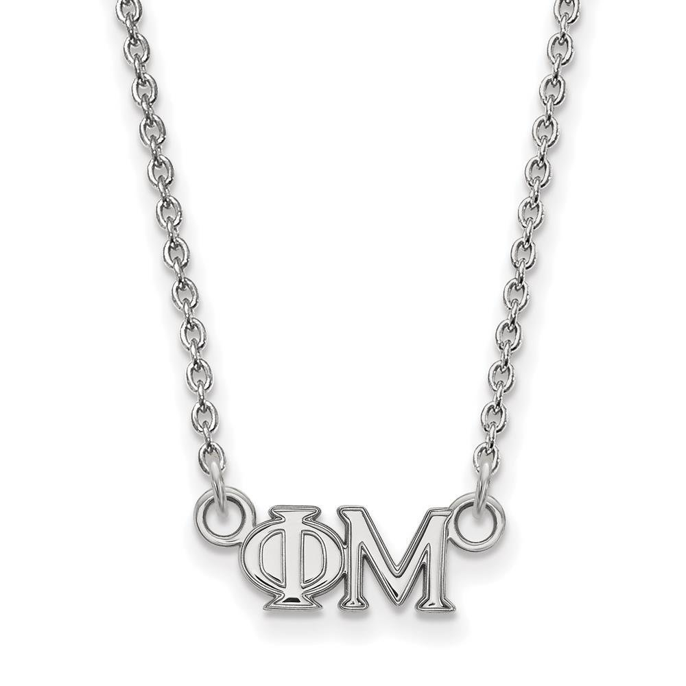 925 Sterling Silver Rhodium-plated Sorority Phi Mu Extra Small Charm Pendant Necklace w//18 Chain