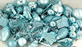 125-Piece Club Pack of Shatterproof Mermaid Blue Christmas Ornaments