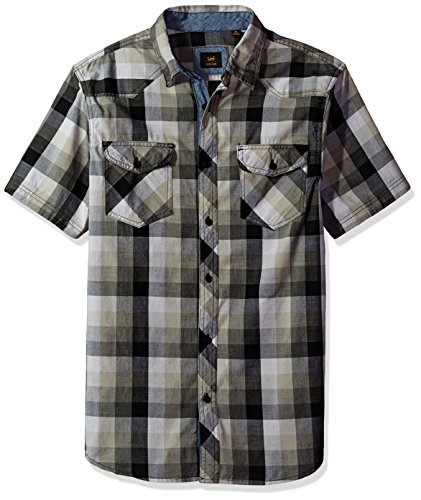 Texture Camp Shirt - LEE Men's Short Sleeve Button Down Dress Shirt Camp Regular Big Tall, Black, XX-Large