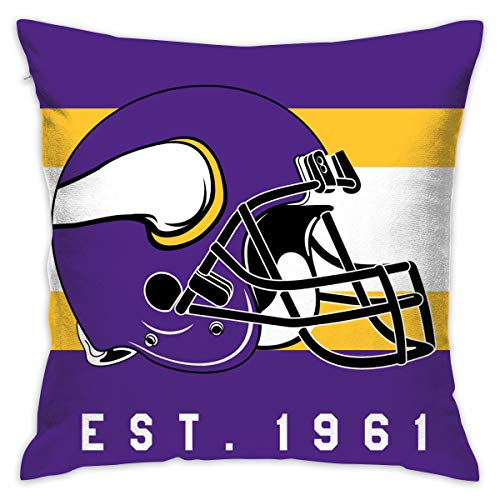 Gdcover Custom Stripe Minnesota Vikings Pillow Covers Standard Size Throw Pillow Cases Decorative Cotton Pillowcase Protecter with Zipper - 18x18 Inches
